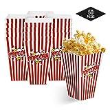 matana 50 Popcornboxen, 18x10cm- Stabil Popcorntüten - Retro, Rot-Weiß Gestreift Partytüten für...