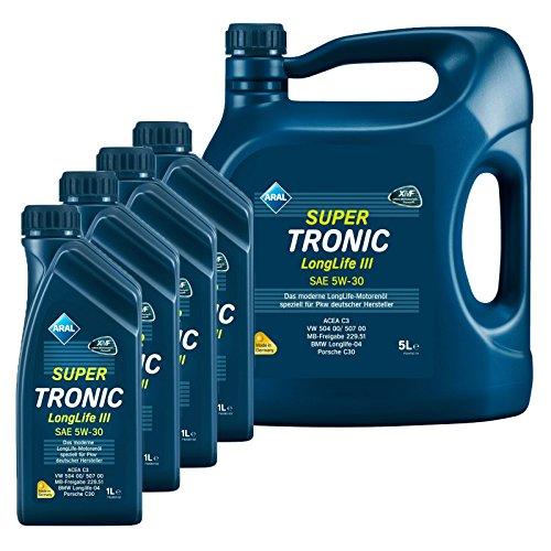 4x 1 L + 5 L = 9 Liter ARAL SuperTronic Longlife III 3 5W-30 Motoröl