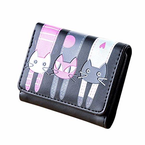 Vovotrade® Femmes Chat Motif Porte-monnaie Portefeuille Court Porte-cartes Sac à Main (10.5cm×9cm, Noir)