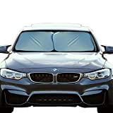 EcoNour Foldable 2-Piece Premium Car Windshield Sunshade   Easy Read Size Chart   Fit for Cars, SUVs, Vans, Trucks   230T Nylon Material Keeps Your Vehicle Cool (Medium 28 x 31 inches)