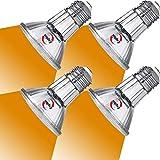 Explux LED PAR20 Amber Flood Light Bulbs, Dimmable, Full-Glass Weatherproof, 60W Equivalent, 4-Pack