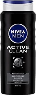 NIVEA Shower Gel, Active Clean Body Wash, Men, 500ml