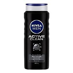 NIVEA Shower Gel, Active Clean Body Wash, Men, 500ml