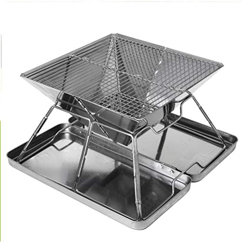 WWJJLL Stainless Steel Grill with Steel Box, Folding Grill, Camping Outdoor BBQ Charcoal Stove, Heavy Duty Portable Grill with Cloth Bag