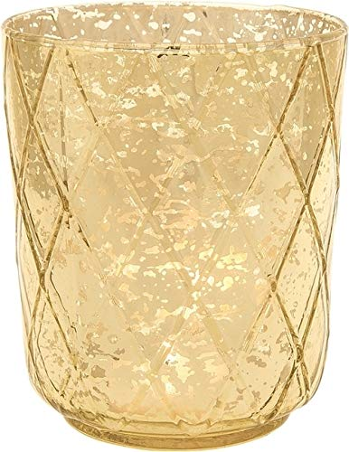 Luna Bazaar Vintage Mercury Glass Vase and Candle Holder for Tea Lights or Votive Candles (4.75-Inch, Marla Design, Quilt Pattern, Gold, Single) - Wedding Centerpiece, Party and Home Decor