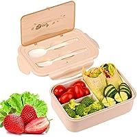 KATELUO Caja Bento Lunch Box Fiambrera Bento 1400 ml 3 Compartimentos 2 Capas con 1 Tenedor y 1 Cuchara,Apto para Microondas Y Lavavajillas | Duradero Saludable Y Apto para Adultos Y Niños (Caqui)
