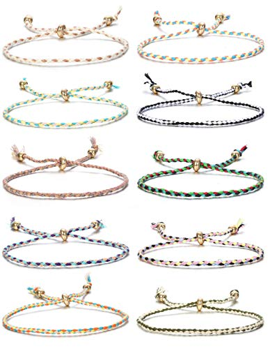 Milacolato 10Pcs Friendship Braided Bracelet for Women Girls Colorful Handmade String Wrap Bracelets for Wrist Anklet Cord Adjustable Birthday Gifts