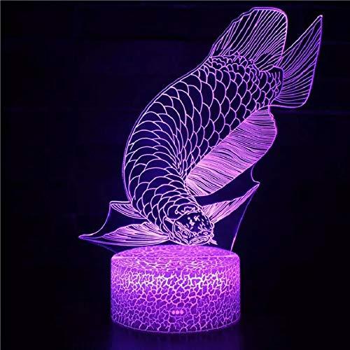 Lámpara de mesa de acrílico 3D multicolor con luz de noche con base de grieta con estilo carpa