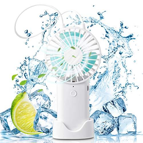 TECHVIDA Mini Ventilador de Mano, Ventilador Portatil USB Recargable con Base, Mini Ventilador Ultra Silencioso 3 Velocidades y Ventilador Colgable para Oficina de Viajes Casa Gimnasio, Blanco
