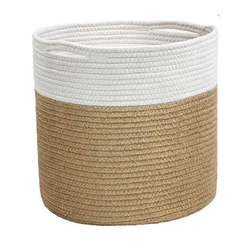 Nicedier Cuerda de algodón Planta de Tejido de Cesta de Almacenamiento Organizador de Interior del Piso macetas con Asas Decoración Tiesto