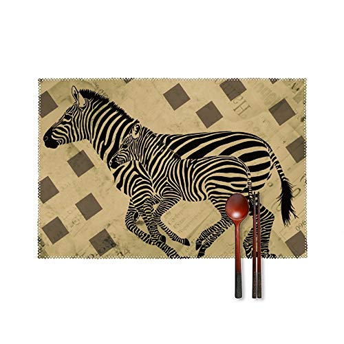 Fashion Place Mats Set of 4 Animal Zebra Pattern Design Rectangle Non-Slip Insulation Table Desk Protector Mats Easy Wipe Clean Placemats for Home Kitchen Round Dining Table Mats 18'X12'