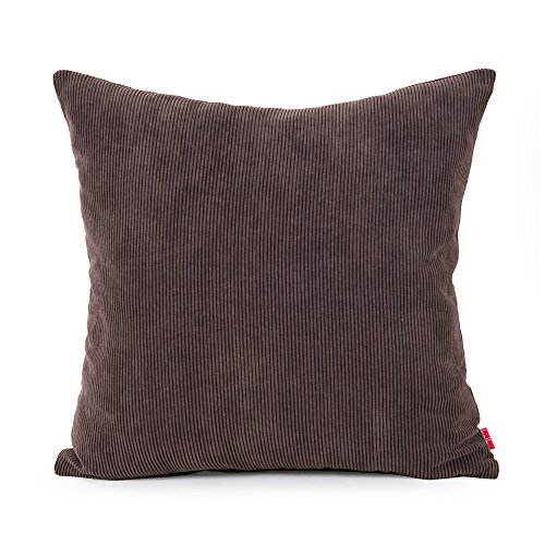 baibu Corduroy Decor Solid Pillow Cover, Multi Size Cushion Cover for Sofa Brown 60x60 cm/24x24 inch