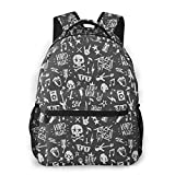 Joyce-life Travel Backpack for School Water Resistant Bookbag Rocknroll Elements Grunge Style
