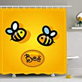 Shower Curtain For Bathroom 72x72 Animal Yellow Black Bee Happy Honey Animals Wildlife Insect Nature Bumble Character Cheerful Cute Waterproof Polyester Fabric Bath Decor Set With Hooks 72x72 Inch
