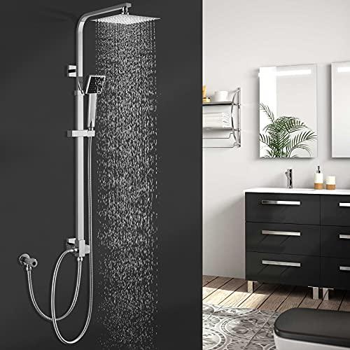 BONADE Duschset ohne Wasserhahn Duscharmatur Regendusche Duschbrause Duschsystem inkl. Kopfbrause Handbrause Shower Set, Höhenverstellbar 88~125cm