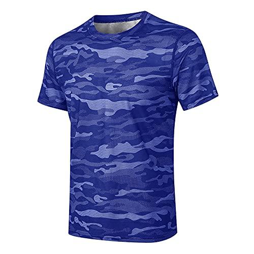 Deportiva Camisa Hombre Moderno Básico Cuello Redondo Regular Fit Hombre Camuflaje T-Shirt Verano Aire Libre Workout Gym Jogging Hombre Manga Corta Wicking Transpirable Camiseta C-Blue XL