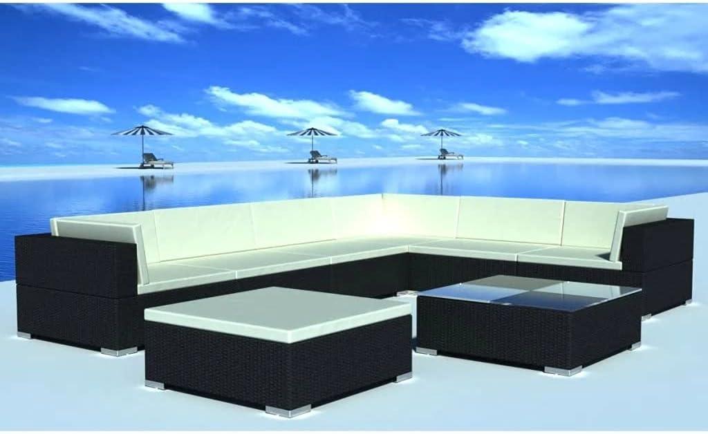 vidaXL 24 Piece Outdoor Lounge Popularity Set Rattan Direct store Poly Wicker Black Gard