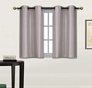 Fancy Linen 2 Panel Faux Silk Blackout Curtain Set Solid Silver/Light Grey with Grommet Top Room Darkening Short Tier Drapes for Kitchen, Bathroom or Any Small Window New