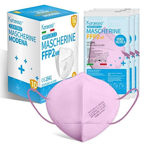KARAEASY Mascherine ffp2 Rosa Certificate Ce Made In Italy Confezione da 10 Pezzi PFE ≥95% Rosa