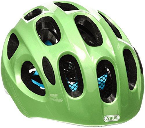 ABUS Youn-I Kinderhelm - Fahrradhelm für Kinder mit LED-Rücklicht für den Alltag - für Mädchen und Jungen - 12813 - Grün (funkelnd), Größe S