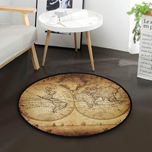 Mnsruu Tapis rond vintage carte du monde océan bateau pour salon, chambre à coucher, 92 cm de diamètre