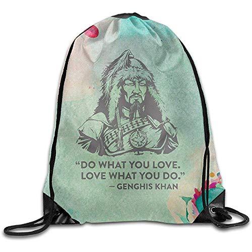 wallxxj Cinch Bags Genghis Khan Haz Lo Que Amas Ama Lo Que Haces Mochila con Cordón Informal Bolsas Cinch Bolsas con Cordón Unisex Moda Informal Estampado Duradero Escuela Duradera Viaje E