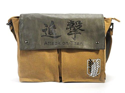 CoolChange Attack on Titan Leinentasche mit Logo des Aufklärungstrupp, 36x27x10cm
