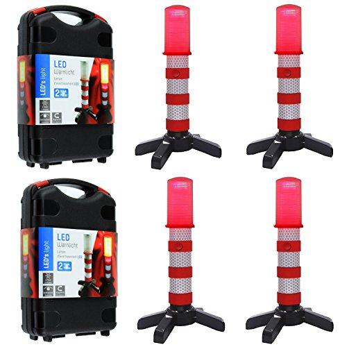 LED-Notfallleuchte, roter Straßenblinker, Warnsignal, magnetischer Sockel und aufrechter Ständer, in solider Aufbewahrungsbox für Auto / Boote / Fahrzeuge / LKW 2 case=4 pcs