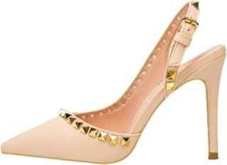Women's Pointed High Heels, Stiletto Heel High 10Cm Shallow Mouth Closed Toe Rivet Back Strap Non-Slip Pump Sandals Suitable for Daily Banquet Wear