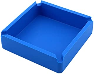 Lependor Ashtray Premium Silicone Rubber High Temperature Heat Resistant Square Design Ashtray (Blue)
