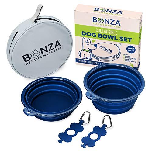 Bonza Große Faltbare Hund Schalen, Twin Pak, 42oz 17,8 cm Durchmesser, tragbar Hund Wasser Schalen für mittlere bis große Haustiere, leicht, stabil, auslaufsicher, lebensmittelecht