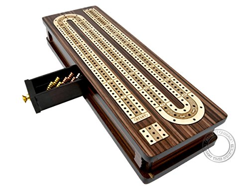 House of Cribbage - Continuous Cribbage Board/Box Inlaid in Rosewood/Maple 12' - 3 Tracks - Sliding Lid Drawer