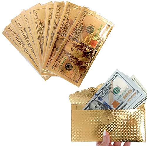 Sunsine forest 10 X $100 Dollar Bill Envelope Money Card Gift Gold Foil Plated Banknote Sleeve