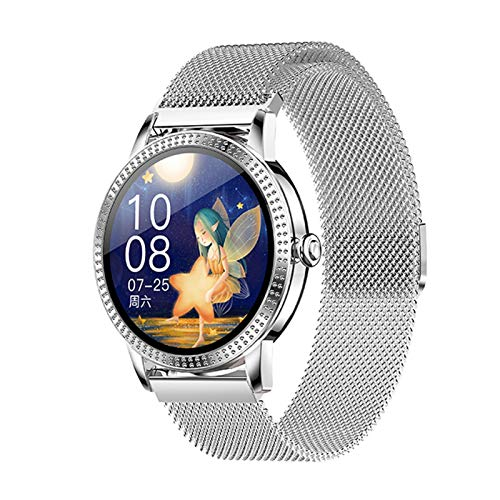 XXY Full Touch Smart Watch Women a Prueba De Agua Ritmo Cardíaco BP Mensaje Y Recordatorio De Llamadas Deporte SmartWatch Connect Android iOS (Color : Mesh Silver)