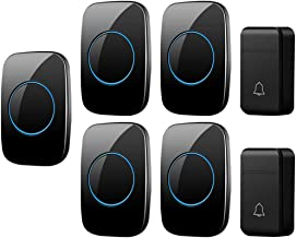 Self-Powered Wireless Doorbell, 3 Volumes, 38 Melody Options, 200M Remote Doorbell, 2 Button and 5 Receivers, IP44 Waterpr...
