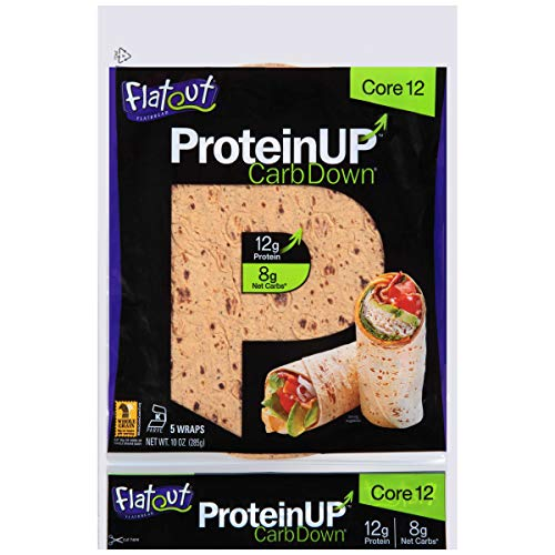 Flatout Protein Up Flatbread, Classic White, Core 12, Pack of 4 (20 Flatbreads Total)