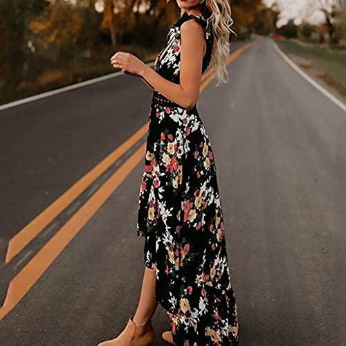 XYZMDJ Vestido largo retro de verano para mujer, elegante, con volantes, falda de playa, falda floral (color: negro, tamaño: grande)
