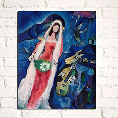 Marc Chagall Hochzeit Leinwand Bild Kunstdrucke Abstrakte WandWanddeko Nordische Vintage Poster Modernes Wohnzimmer Home Wanddekor Bilder 50x60cm Ungerahmt
