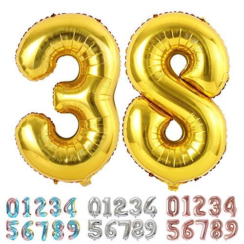 Ponmoo Foil Globo Número 38 83 Dorado, Gigante Numeros 0 1 2 3 4 5 6 7 8 9 10-19 20-29 30-39 40 50 60 70 80 90 100, Grande Globos para La Boda Aniversario, Globo de Cumpleaños Fiesta Decoración
