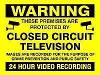 2個 警告施設保護されたCCTV24時間ビデオ録画ブリキサイン金属プレート装飾サイン家の装飾プラークサイン地下鉄金属プレート8x12インチ メタルプレート レトロ アメリカン ブリキ 看板