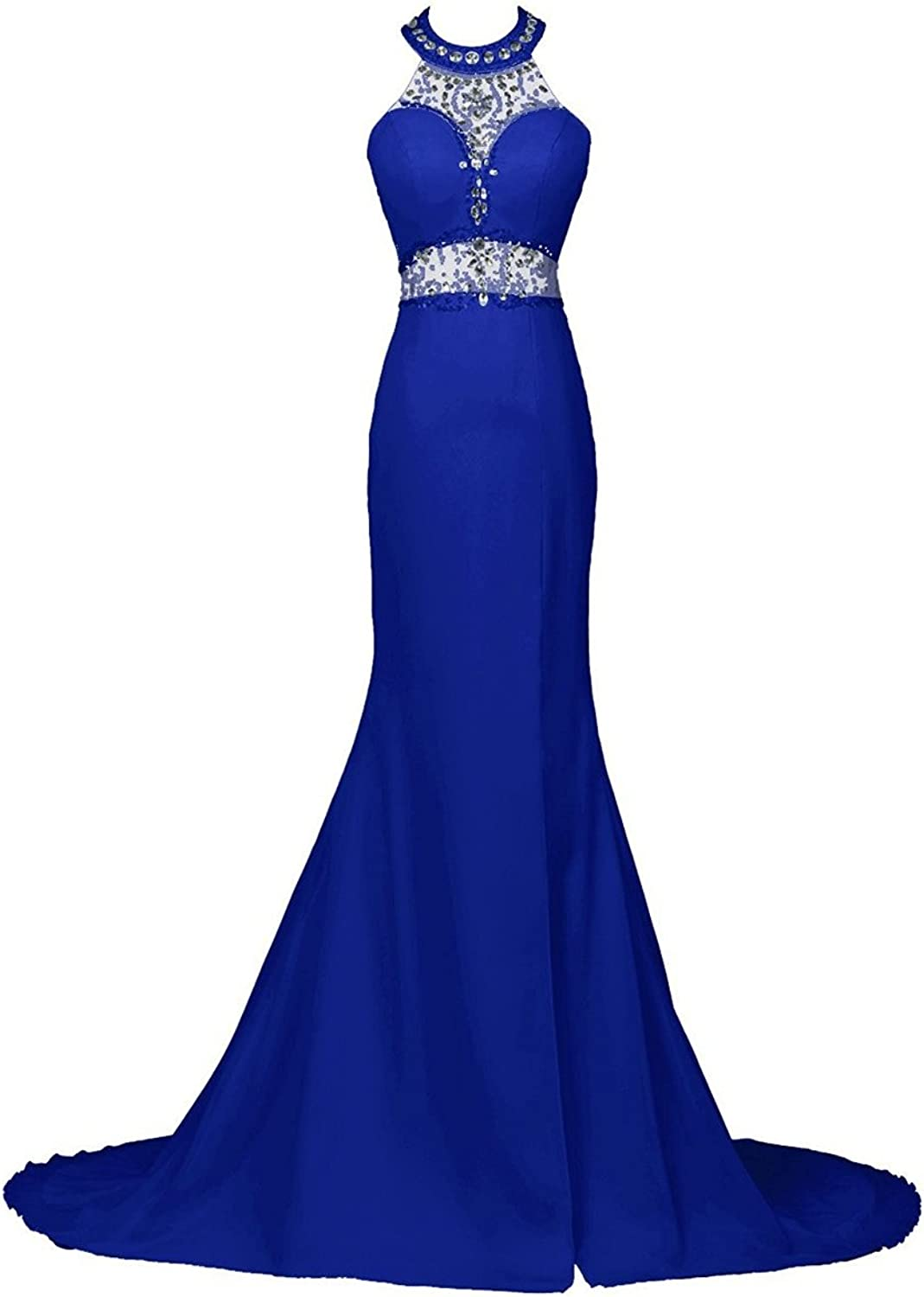JudyBridal Long Mermaid Prom Dress Beaded Halter Evening Gowns with Slit