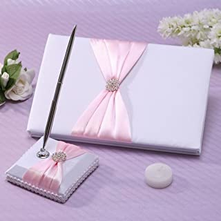 Meiysh Satin Bow Rhinestone Flower White Base Wedding Accessories Guest Book and Pen Set with Rhinestone (Pink)