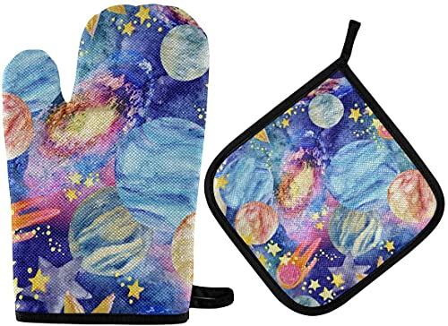 Galaxy Moon Constellations Sun Starry Oven Mitts and Pot Holder,Non-Slip Hot Pads Heat Resistant Kitchen Set for Cooking Baking Grilling BBQ