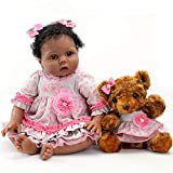 Aori Lifelike Reborn Baby Dolls with Soft Body African American Realistic Girl Doll 22 Inch Teddy Gift Set for Girl Ages 3