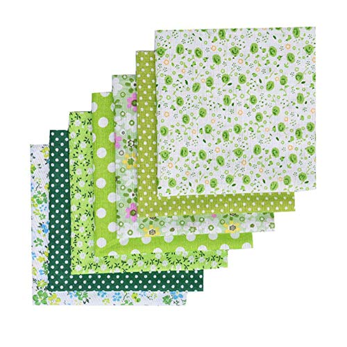 BANGSUN Fabric For Sewing Diy Floral Patchwork Material Squares Different Pattern Cotton Green 7 Pcs