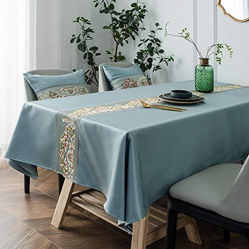 GTWOZNB Mesa de Comedor Lavable Cubierta de Lino de Tela con Rectángulo Impermeable Bordado-Gris Azul_150x100