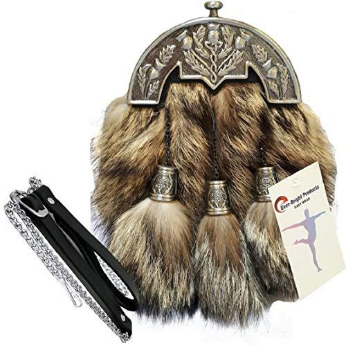 Scottish Kilt Original Fox Fur Full Dress Sporran Antique Enamel Thistle Cantel