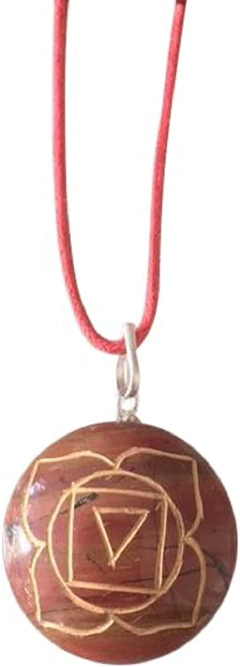 Artisan Crafted Natural Gemstone Disc Chakra Symbol Pendant Necklace ~ Handmade Jewellery Ethically Sourced ~ Gift Box (Red Jasper - Root Chakra)