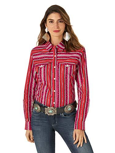 Wrangler Women's Retro Long Sleeve Western Snap Shirt, Striped, Large