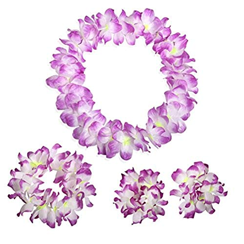 NFACE Hawaiian Luau Flower Leis Jumbo Necklace Bracelets Headband Set Purple